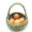 Carrier basket with eggs — Stock Photo
