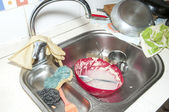 Sink with dishes — Stock Photo