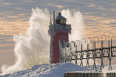 Winter, South Haven Lighthouse — Stock Photo