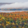 Autumn Forest and Lake Medora — Stock Photo