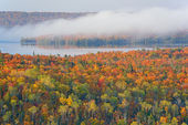 Autumn Forest and Lake Medora — Stock Photo