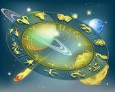 Zodiac circle in space — Stock Vector