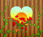 Wooden fence with a carved heart and flowers — Stock Vector