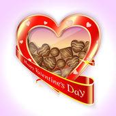 Rode doos chocolade in de vorm van hart op valentijnsdag — Stockvector