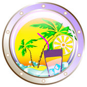 Background vector: on vacation at sea — Stock Vector