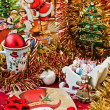 Christmas table arrangement — Stock Photo