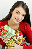 Girl holding Christmas presents — Foto de Stock