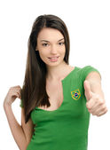 Thumbs up for Brazil. — Zdjęcie stockowe