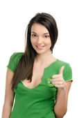 Thumbs up for Brazil. — Stockfoto
