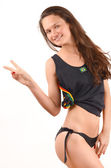 Girl signing victory for Brazil. — Stock Photo
