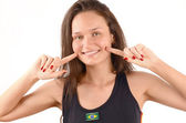 Beautiful Brazilian girl smiling. — Stock Photo