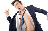 Young business man undressing his suit. — Stock Photo