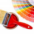 Stock Photo: Red paint and swatch.