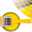 Yellow paint and swatch. — Stockfoto