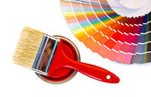 Red paint and swatch. — Stock Photo