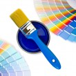 Blue paint and swatches. — Stock Photo #32660851
