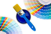 Blue paint and swatches. — Stock Photo