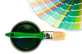 Green paint and swatch. — Stock Photo