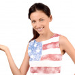 Beautiful American girl presenting. — Stock Photo #33577197