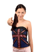 Beautiful English girl pointing in front to you. Attractive girl with UK flag on her top. — Stock Photo