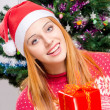 Beautiful young woman with Santa hat smiling offering you a Christmas present. — Lizenzfreies Foto