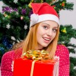 Beautiful young woman with Santa hat smiling offering you a big Christmas present. — Foto de Stock