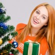 Beautiful young woman smiling offering you a Christmas present. — Stock Photo