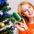 Stock Photo: Beautiful young woman smiling holding a Christmas present.