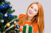 Beautiful young woman smiling offering you a Christmas present. — Stockfoto
