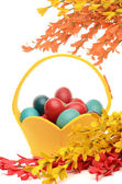 Colorful hand dyed easter eggs in a yellow basket, decorations with spring flowers — Stock Photo
