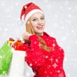 Happy young woman with Santa hat shopping for the Christmas holidays, snowy background.  — Stock Photo