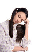 Woman sleeping. Beautiful girl in pajamas falling asleep. — Stock Photo