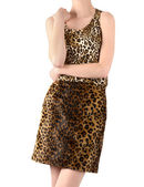 Unrecognizable woman dressed in leopard print skirt and blouse. — Stock Photo