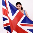 Stock Photo: Beautiful British girl smiling holding up the UK flag.