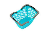 Blue plastic shopping basket isolated on white. — Stock fotografie