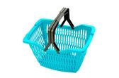 Blue plastic shopping basket isolated on white. — Stock Photo