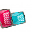 Blue and pink plastic shopping basket isolated on white. — Stock Photo