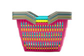 Pile of colorful plastic shopping baskets isolated on white. — Foto de Stock