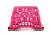 Pink plastic shopping basket isolated on white. — Stock Photo