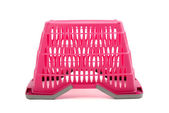 Pink plastic shopping basket isolated on white. — Foto de Stock