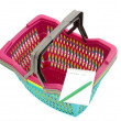 Colorful plastic shopping basket with blank shopping list. — Stock Photo