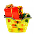 Market basket full of nicely wrapped presents. — Stock Photo