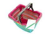 Colorful plastic shopping basket with blank shopping list. — Foto Stock