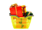 Market basket full of nicely wrapped presents. — Foto de Stock