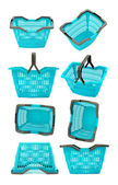 Blue plastic shopping basket collage. — Stock Photo