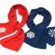 Red and dark blue scarf decorated with snowflakes. — Stock Photo #44340319