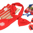 Red winter accessories nicely arranged. — Stock Photo #44340429