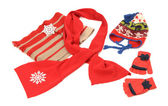 Red winter accessories nicely arranged. — Stock Photo