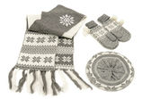 Grey winter accessories isolated on white background. — Stock Photo