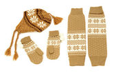 Brown winter accessories isolated on white background. — Stok fotoğraf
